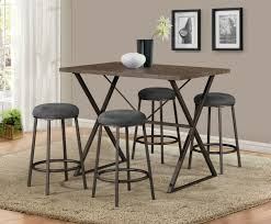 5 Piece Brown Industrial Counter Height Dining Pub Set, One Table With 4  Stools