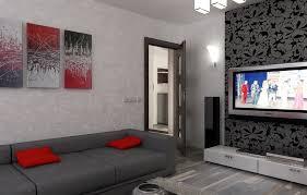 bilder 3d interieur wohnzimmer rot grau 5