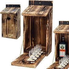 cage holz vogelhaus mit platz für flasche schnaps