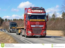 Red DAF Semi Truck On Highway At Spring Editorial Stock Photo ...