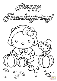 Happy Thanksgiving Coloring Pages Hello Kitty Page Free Printable Pictures