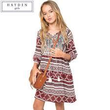 HAYDEN Girls Boho Dress Kids Vintage Dresses Size 12 Years Children Girl 2017 Brand Clothing