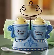 Espresso Coffee Cup Mug Kitchen Salt Pepper Shaker Napkin Holder Set