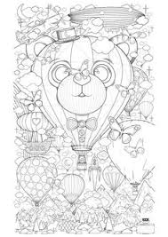 Free Coloring Page Adult Hot Air Balloon Zen Anti Stress To Print
