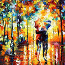 Under One Umbrella Palette Knife Figure Modern Art Oil Painting On Canvas By Leonid Afremov