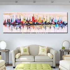 mode moderne wohnzimmer dekorative ölgemälde handgemalte große lange leinwand bild mirage stadt landschaft abstrakte wand kunst