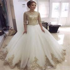 Charming Half Sleeve Ball Gown Wedding Dresses 2018 With Luxury Gold