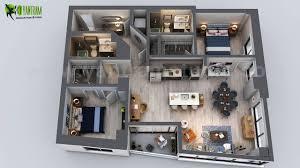 Kitchen Unit Ideas Residential Apartment 3d Floor Plan Rendering Ideas Bedroom