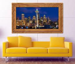 3d wandtattoo skyline seattle usa amerika selbstklebend wandbild sticker wohnzimmer wand aufkleber 11k609