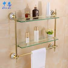 bathroom glass shelf with towel rail shelves amazon uk tempered