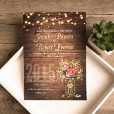 Spring Flower Mason Jar String Lights Rustic Invitations EWI416