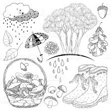 Vector autumn set with outline tree with falling leaves rubber boots basket mushrooms