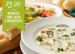 Olive Garden Unlimited Soups Salad and Bread Sticks for $5 99