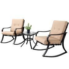 SOLAURA 3-Piece Outdoor Rocking Chairs Bistro Set, Black Steel Patio  Furniture With Brown Thickened Cushion & Glass-Top Coffee Table Amazonbasics Outdoor Patio Folding Rocking Chair Beige Childs Fniture Of America Betty Antique Oak Chairstraditional Style Sherwood Natural Brown Teak Porch Chairs Amazoncom Darice 9190305 Unfinished Wood Timber Ridge Smooth Glide Lweight Padded For And Support Up To 300lbs Earth Amazon Walmart Metal Iron Foldable Rocker With Pillow Buy Chairrockerfolding Merry Garden White Errocking Acacia Mybambino Personalized Childrens With Lavender Butterflies Design Best Rated In Kids Helpful Customer Outsunny Wooden Baxton Studio Yashiya Mid Century Retro Modern Fabric Upholstered Light
