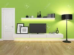 grüne wohnzimmer mit tv ständer und bücherregal rendering