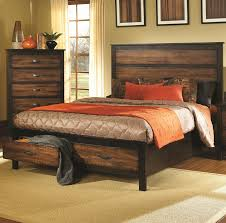 Image Of Rustic Platform Bed With Storage
