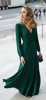 30 DRESSES IN DAYS Black Tie Wedding Guest Emerald Green Long Sleeve Floor Length Wrap Dress And Gold Geometric Pattern Evening Clutc