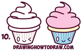 Cupcake Easy Drawing How to Draw Cute Kawaii Cupcake with Face It Easy Step by