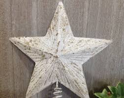 8 Distressed White Gold Star Christmas Tree Topper Metal Medium Large Decor Shabby Chic Cottage
