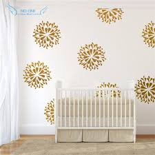 Gold Flowers Wall Decals Vinyl Sticker