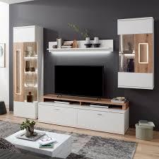 ideal möbel falan wohnkombination 41 für ihr wohnzimmer moderne 4 teilige wohnwand mit standvitrine lowboard hängevitrine und wandboard korpus in weiß