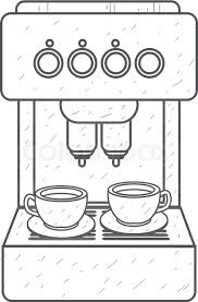 Coffee Machine Red Household Appliances Outline Drawing Vector
