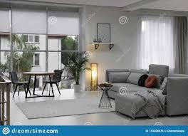 gemütliches wohnzimmer mit modernen möbeln und stilvollem