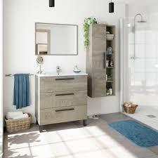 badezimmerschrank auf dem boden 80 cm eiche mit 3 schubladen und spiegel