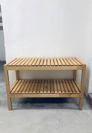 holzbank wooden bench ikea molger birke kaufen auf ricardo
