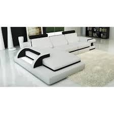 canapé d angle cuir blanc et noir design lumi achat vente