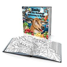 Santas Reindeer Hard Cover Colouring Book