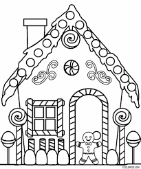 Gingerbread House Coloring Pages Printable For Kids Cool2bkids