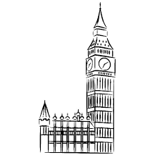 Big Ben Sketch Of Clock Tower Colouring Page