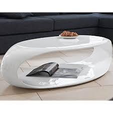 salesfever tisch weiß hochglanz 120x60 cm aus fiberglas recht eckig august futuristischer wohnzimmer tisch im retro look mit viel