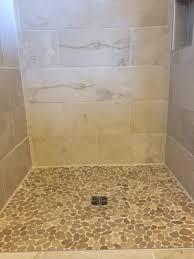 sliced java shower floor pebble tile shop