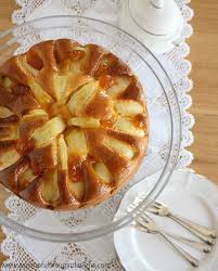 Apple Yoghurt Cake Is A Low Fat Recipe That Uses In Place Of Butter Oils Decorated With Pieces And Glazed Apricot Jam It Delicious