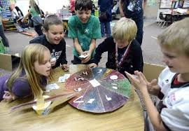 Edmondson Elementary School Students Play A Game Made Of Cardboard Called QuotWheel Fortunequot