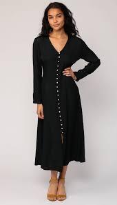 90s grunge dress black plain midi high waist pearl button up