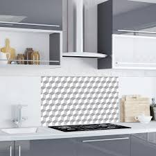 Geometric Grey Cube Kitchen Splashback Wall Decal