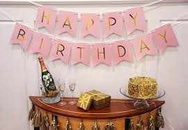 Pink And Gold Birthday Themes by Amazon Com Pink Happy Birthday Bunting Banner With Shimmering