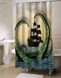 Octopus vs Pirate Ship shower curtain myshowercurtains