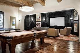 Family Games Room Ideas Contemporary With Projector Screen Home Theater Black Accent Wall