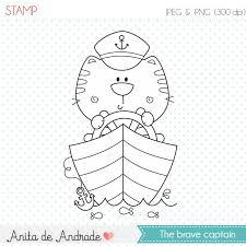 Ships Captain Sailor Cat Stamp