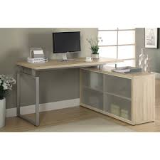 monarch computer desk dark taupe corner with frosted glass
