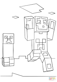 Minecraft Coloring Pages Steve Diamond Armor Noticeable For