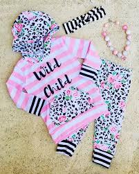 Wild Child Leopard Floral Stripe Hoodie Pant Set Boutique Outfits New
