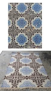 blue and white tiles as a custom outdoor rug rug your