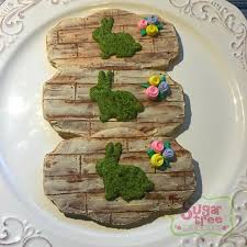 Wood Plank And Moss Bunny Easter Cookies