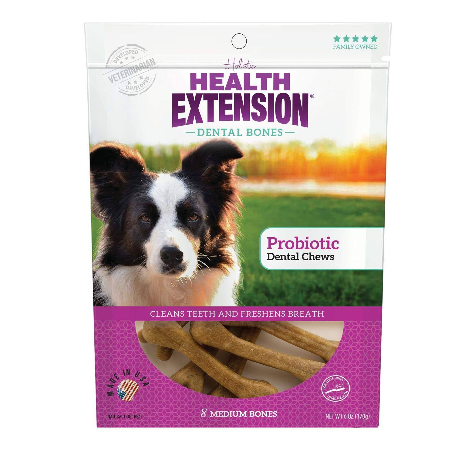Health Extension Probiotic Dental Bones Dog Treats, Medium