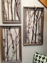 Swarovski Crystal Snowflakes Reclaimed Wood Frames Branches Homemade Winter Christmas Display